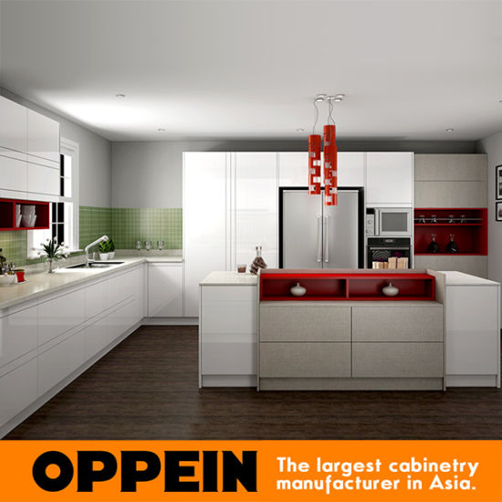 Modern White High Gloss Lacquer and Light Gray Melamine Kitchen Cabinet (OP16-L08) & China Modern White High Gloss Lacquer and Light Gray Melamine ...