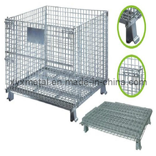 1.2X1.0m Collapsible Folding Warehouse Logistic Trolley Roll Wire Mesh Storage Cage pictures & photos