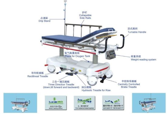 Luxurious Hydraulic Rise-and-Fall Stretcher Cart with Weight Scale pictures & photos