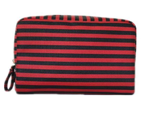 Ladies Classic Striped Waterproof PU Multifunctional Clutch Travel Cosmetic Bag