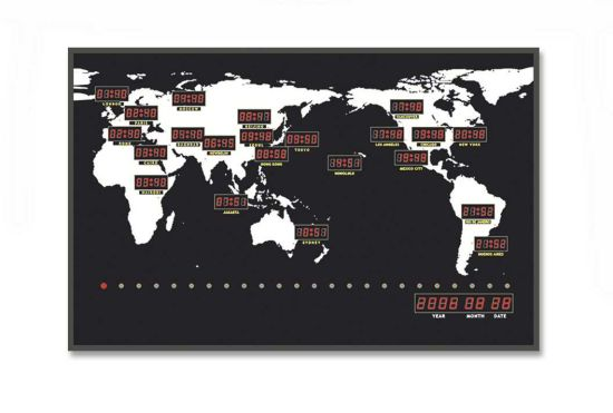 China LED Digital 24 Time Zone World Map Clock - China World Clock ...