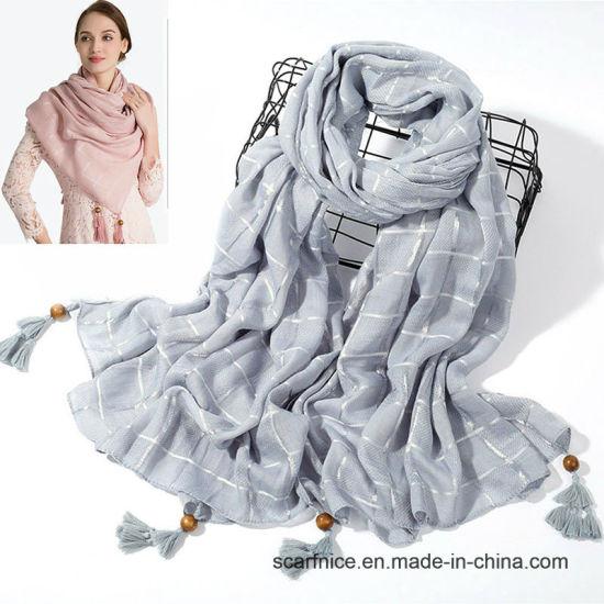 c282ecf6af8 New Scarf Women Plaid Solid Fashion Scarves Cotton Head Muslim Hijab  Pashmina Ladies Large Long Shawls Spring