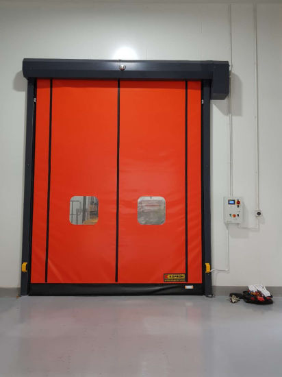 Automatic GMP PVC Fabric Zipper Type Self Repairing Airtight High Speed Roll up Fast Acting Rapid Rolling Shutter Rapid Rise Rolleroverhead Door for Clean Room