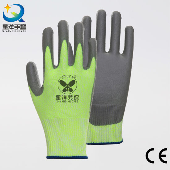 Hppe Super Cut Anti Abrasion Palm PU Coated Safety Industrial Work Gloves with CE Certificate