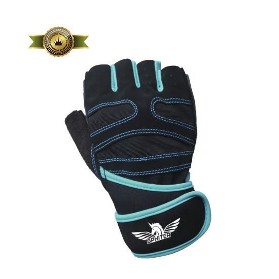 Custom Sports Team Logo Bicycle Cycling Half Finger Gloves Fingerless Gloves Gel Pad Black Red