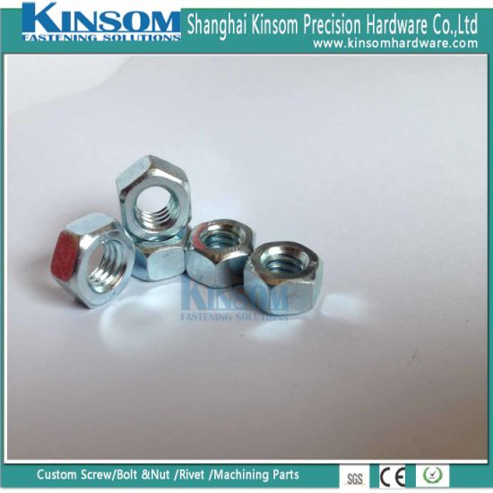 Blue Zinc Coating Thin Hexagon Nut with Carbon Steel Customized Size pictures & photos