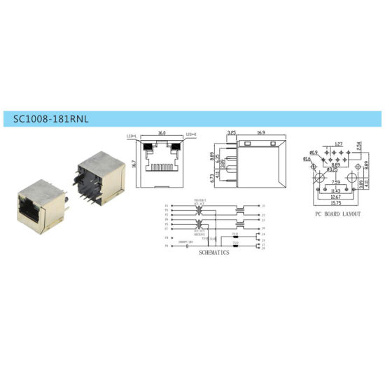 Top Entry RJ45 Transformer with LED pictures & photos
