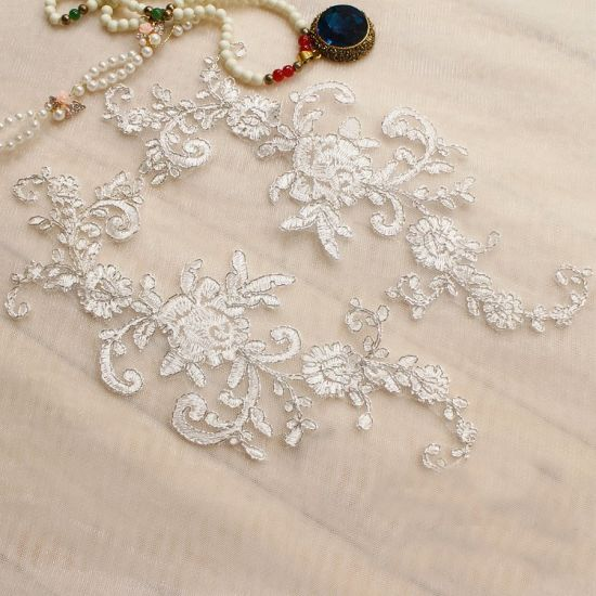 Wholesale Embroidery Metallic Silver Flower Wedding Lace Applique