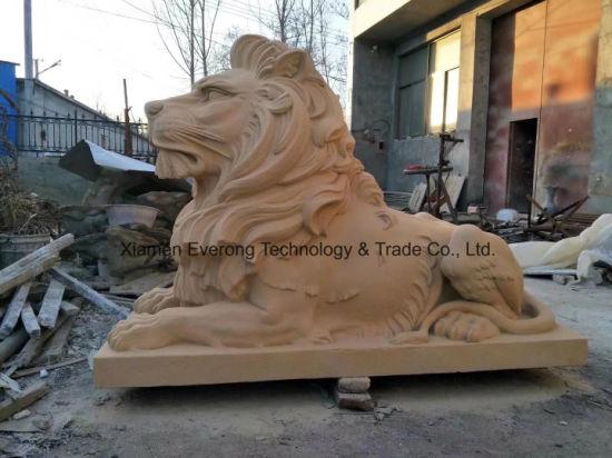 Outdoor Stone Animal Statue Marble Lion Sculpture for Garden Decoration