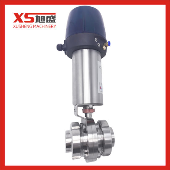 Stainless Steel Union Type pneumatic Butterfly Valve with Control Head