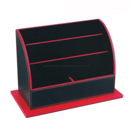 Modern Design Black Leatherette Office Desktop Document Organizer Magazine Display Stand Rack