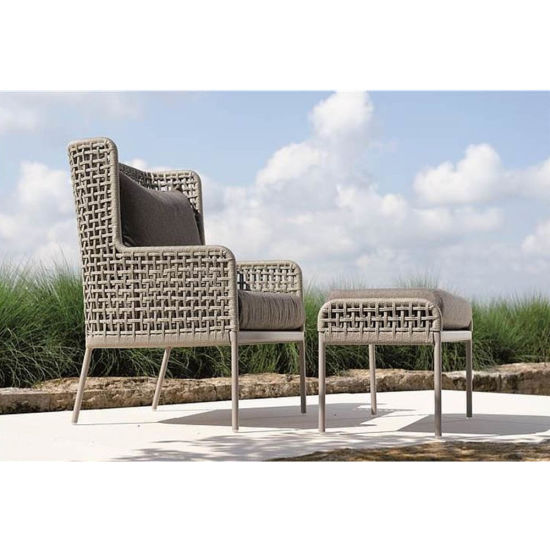 Agreta Contemporary Powder Coated Aluminum Rope Outdoor Club Chair with Ottoman