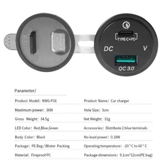 Quick Charger 3.0 Socket, USB + Type C Output W/Blue LED Voltmeter