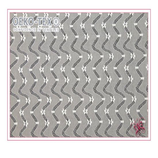 Curving Design Jacquard Knitting Lace Fabric