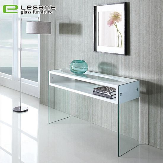 Curved Glass Console Table With High Gloss White Mdf Drawers China Shelves Made In Com - Modern White Console Table With Storage