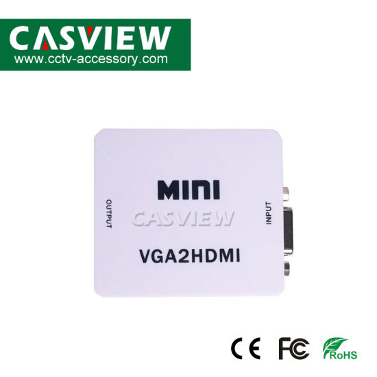 Mini VGA to HDMI Converter with Audio Full HD 1080P VGA2HDMI Connector with Audio for PC Laptop to HDTV Projector