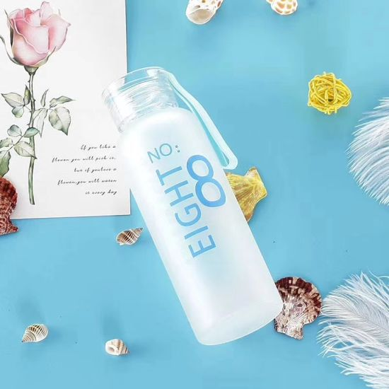 Factory Price Leaf Proof Cylinder Round Bottle BPA Free Frosted Glass Water Bottle with Matte for Gym/Party/Sport/Outdoor 480ml