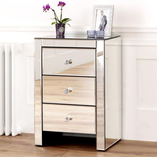 Drawers Mirror Glass Bedside Table, 3 Drawer Mirrored Bedside Table Very
