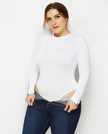 One-Piece Large Size Autumn Women's European and American Solid Color Long Sleeve Sexy Round Collar Slim Body Anti-Go Light Bottom Shirt Jumpsuit