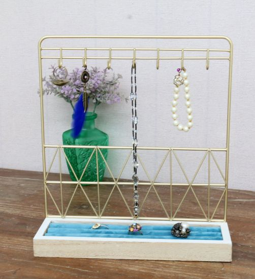 Wood Base Gold Wire Jewellery Holder 25X7.5X27.5cm Jewelry Display Rack Wire, Home Decor Craft, Home Decor