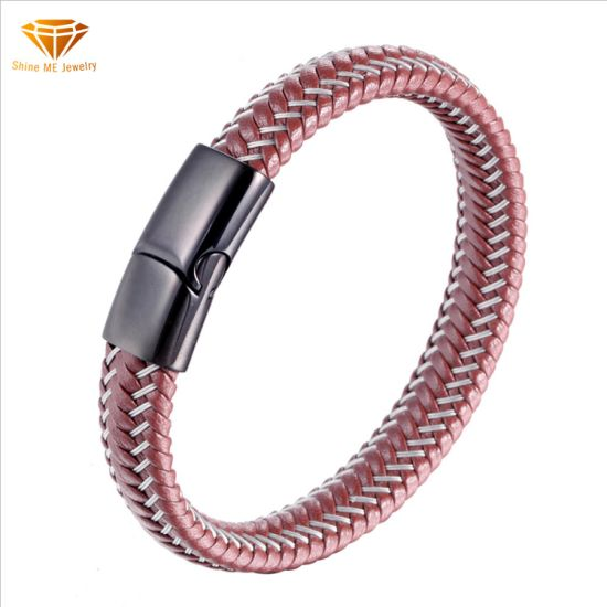 Jewelry Gift Popular Leather Rope Bracelet Titanium Steel Men's Steel Wire Braided Leather Bangle Bl2922
