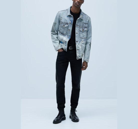 Wholesale Custom Graffiti Printed Denim Jacket Fashion Men's Coat Casual Long Sleeve Jackets