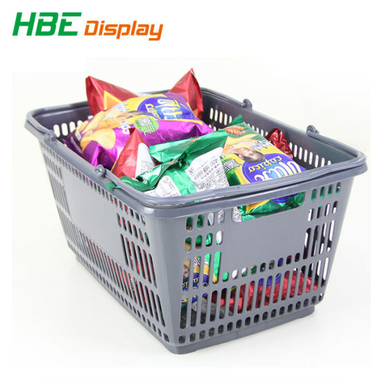 Clear Plastic Supermarket Double Handle Shopping Basket pictures & photos