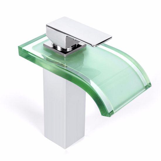 Bathroom Temperature Sensor Color Changing LED Waterfall Sink Washbasin Faucet