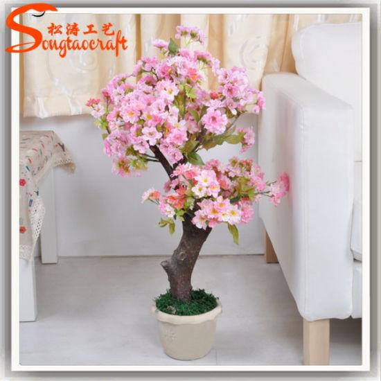 Home/Office Decorationt Artificial Peach Silk Flower Mini Bonsai