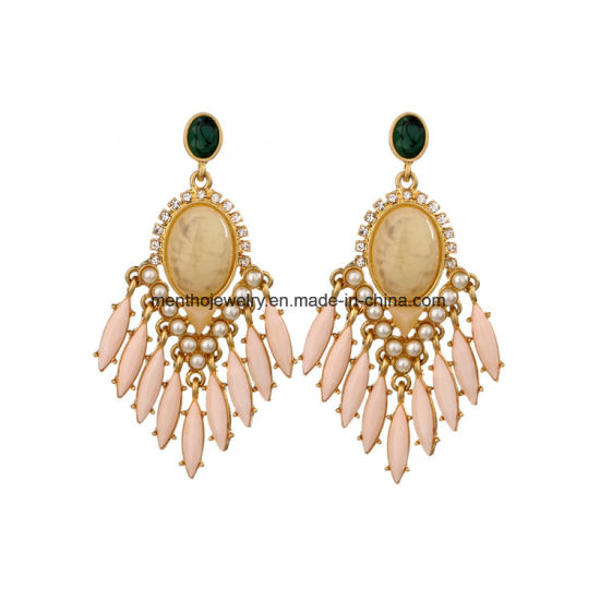 Statement Ethnic Colorful Gems Tassel Women′s Earring Water Drop Design Crystal Studded Jewelry pictures & photos