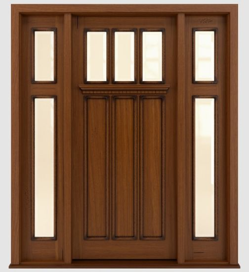China Traditional Stained Front Solid Mahogany Wooden Doors Design