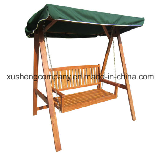 China Outdoor Garden Backrest Iron Chain Rope Tent Type Wooden Swing
