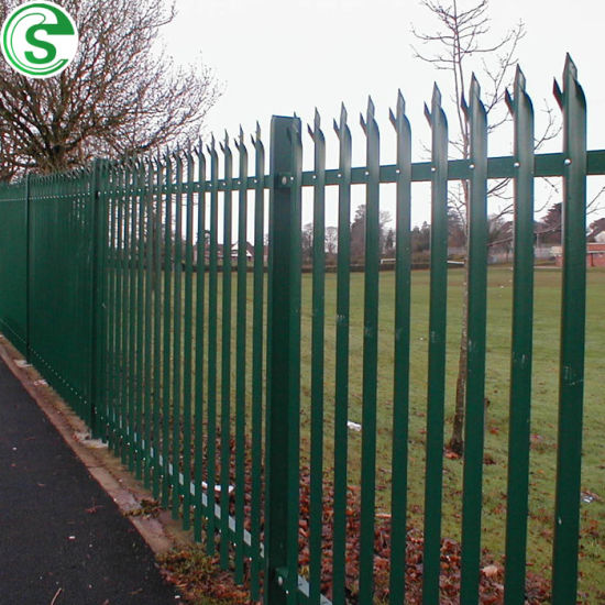 Powder Coated D Profile H Post Metal Palisade Fence for Garden