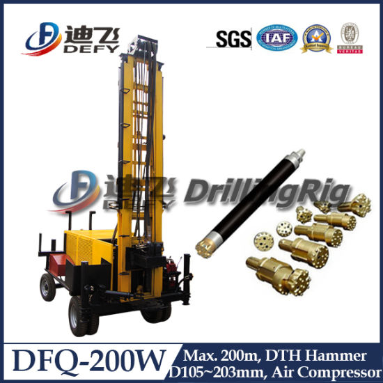 200m Dfq-200W DTH Rock Water Bore Well Drill Rig Manufacturer