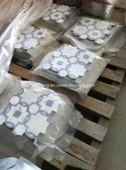 Marble Pattern Border Water-Jet Marble Mosaic for Bathroom pictures & photos