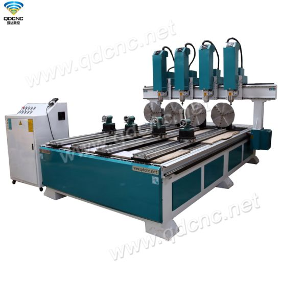 Four Spindles CNC Router Engraving Machine with DSP Controller System Qd-1325r4