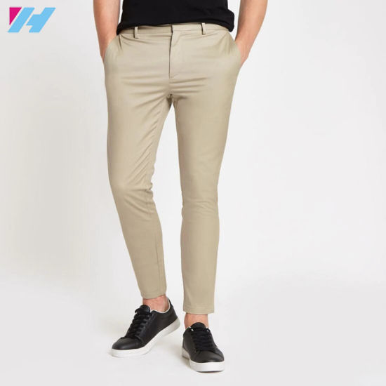 Plain Color Pants Stone Smart Skinny Fit Men Chino Trousers