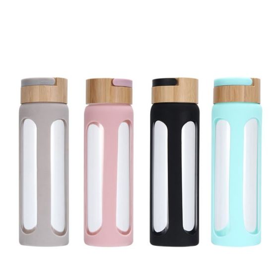 Amazon Hot Sale Portable Bamboo Lid Water Bottle with Borosilicate Glass for Mineral Water