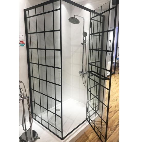 Bathroom Corner Black Frame Rectangle Shower Enclosure Bath Room with Shower Tray