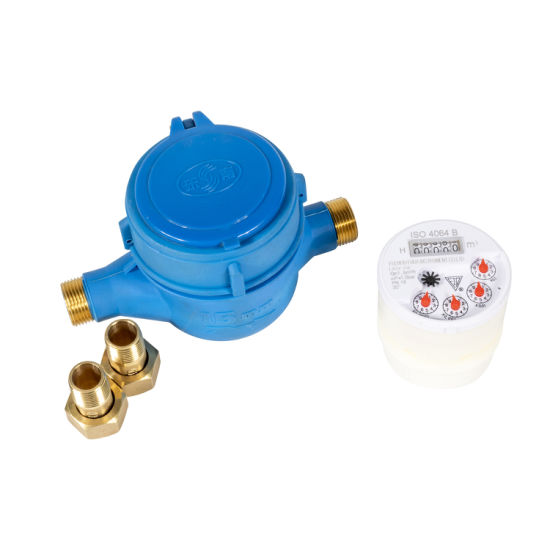 Popular Customized Plastic Water Meter with Brass Pipe Cap Flow Water Meter with 4064