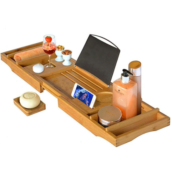 Hot Sale Bamboo Water-Resistant Bathtub Caddy Tray with Soap Holder