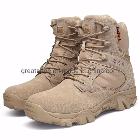 Greatshoe Hot Sale Beige Desert Earthquake Resistant Tactical German Military Boots High Cut Outdoor Men Sport Shoes pictures & photos