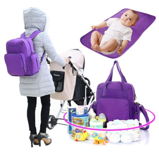 Multifunctional Baby Changing Rucksack Nappy Diaper Mummy Bag for Stroller
