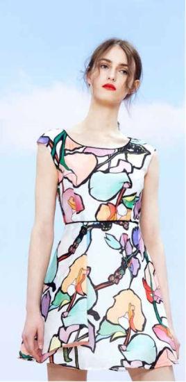 Wholesale Chinese Brand Stock Women Clothes Sleeveless Pattern Dress
