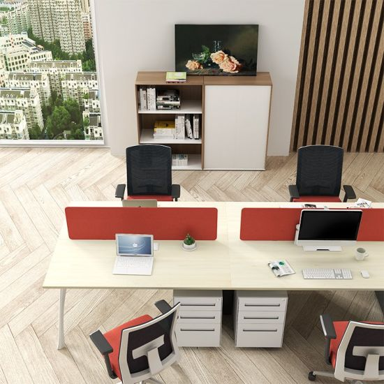 Office Furniture Outlet 8 Person MDF Office Partition Wood Office  Workstation