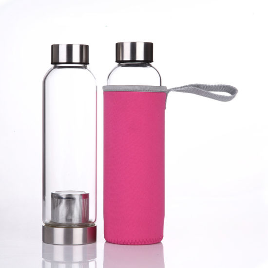 420ml 550ml High Quality Customized Unisex Sports Clear 16oz Glass Water Bottle with Tea Infuser