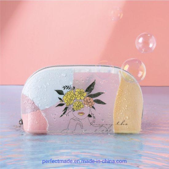2021 Factory Most Popular Custom Logo Fashion TPU Lady Makeup Cosmetic Bag