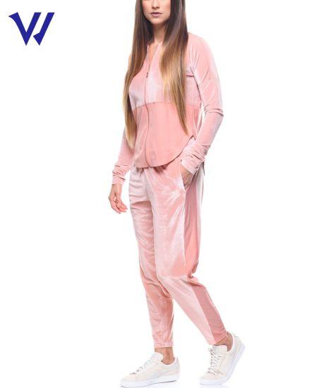 China Manufacturer Women Customized Tracksuit Set Plain Training Velvet Tracksuit