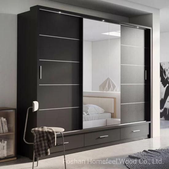 China Mdf Home Furniture Bedroom Wooden Wardrobe Sliding Door Design Closet Hf Wb72 China Bedroom Wardrobe Bedroom Furniture