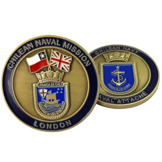 Wholesale Custom Chilean Military Navy Antique Bronze Challenge Coins Chile Embassy in UK Army Air Force Souvenir Coin